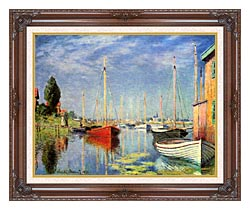 Claude Monet Pleasure Boats At Argenteuil canvas with dark regal wood frame