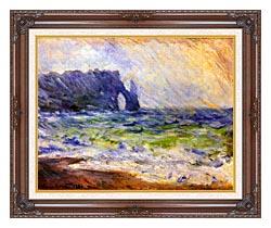 Claude Monet Rain At Etretat canvas with dark regal wood frame