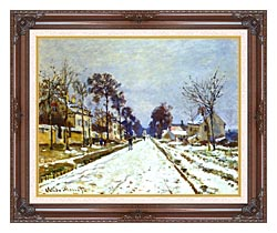 Claude Monet Road At Louveciennes Snow Effect canvas with dark regal wood frame