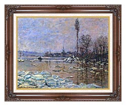 Claude Monet The Ice Floes canvas with dark regal wood frame