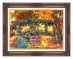 Claude Monet The Japanese Footbridge canvas with dark regal wood frame