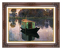 Claude Monet The Studio Boat canvas with dark regal wood frame
