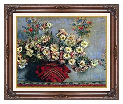 Claude Monet Vase With Chrysanthemums canvas with dark regal wood frame