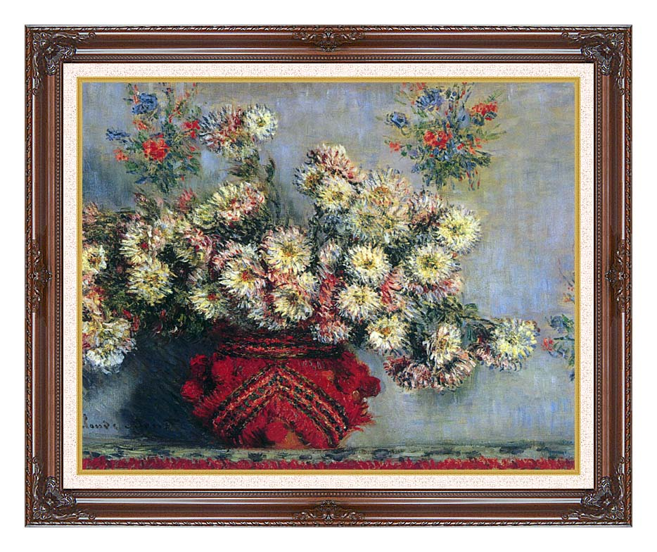 Claude Monet Vase with Chrysanthemums with Dark Regal Frame w/Liner