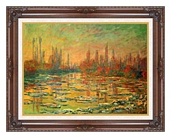 Claude Monet Floating Ice On The Seine canvas with dark regal wood frame