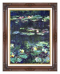 Claude Monet Green Reflection Detail canvas with dark regal wood frame