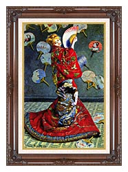 Claude Monet Madame Monet In Japanese Costume canvas with dark regal wood frame