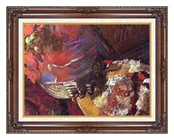 Edgar Degas At The Milliners Detail canvas with dark regal wood frame