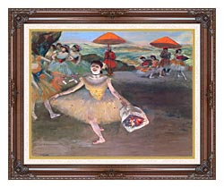 Edgar Degas Ballerina With A Bouquet Of Flowers canvas with dark regal wood frame