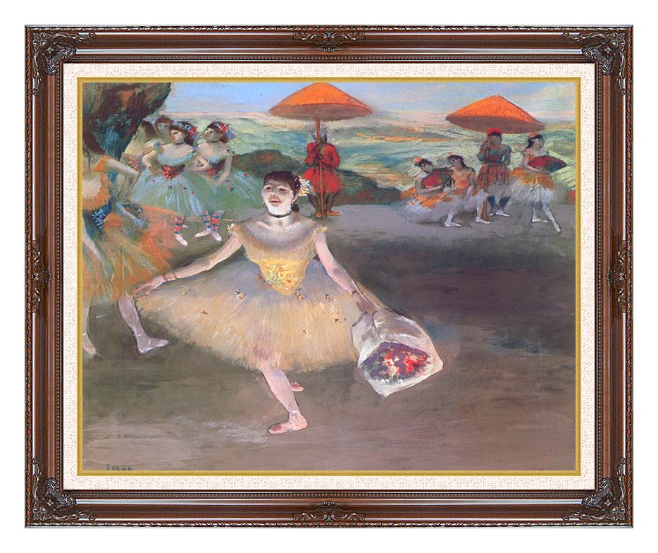 Edgar Degas Ballerina with a Bouquet of Flowers with Dark Regal Frame w/Liner