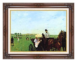 Edgar Degas Carriage At The Races canvas with dark regal wood frame