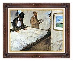 Edgar Degas Cotton Merchants canvas with dark regal wood frame