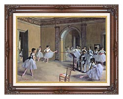 Edgar Degas Dance Foyer At The Opera In The Rue Le Peletier canvas with dark regal wood frame