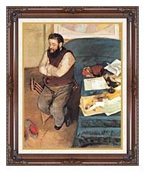 Edgar Degas Diego Martelli canvas with dark regal wood frame