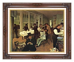 Edgar Degas Portraits In An  Office New Orleans canvas with dark regal wood frame