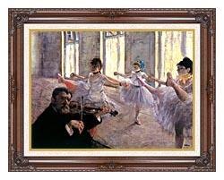 Edgar Degas Rehearsal canvas with dark regal wood frame