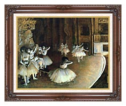 Edgar Degas Rehearsal Of A Ballet On Stage canvas with dark regal wood frame