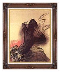 Edgar Degas Seated Woman Adjusting Her Hair canvas with dark regal wood frame