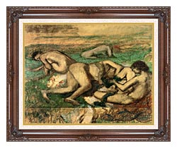 Edgar Degas The Bathers canvas with dark regal wood frame