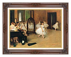 Edgar Degas The Dancing Class canvas with dark regal wood frame
