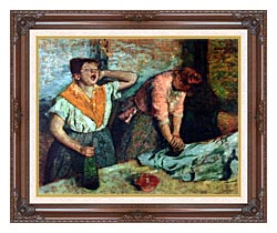 Edgar Degas The Laundresses canvas with dark regal wood frame