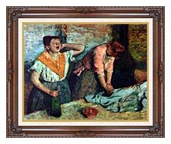 Edgar Degas The Laundresses canvas with dark regal wood frame