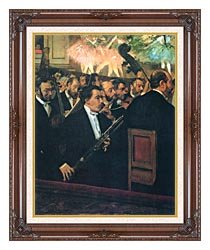 Edgar Degas The Orchestra Of The Opera canvas with dark regal wood frame