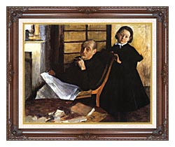 Edgar Degas Uncle And Niece canvas with dark regal wood frame