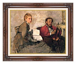 Edgar Degas Violinist And Young Woman Holding The Music canvas with dark regal wood frame