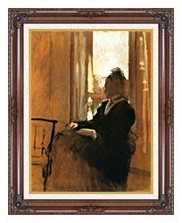 Edgar Degas Woman At A Window canvas with dark regal wood frame