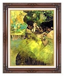 Edgar Degas Yellow Dancers In The Wings canvas with dark regal wood frame
