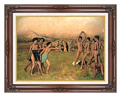 Edgar Degas Young Spartans Exercising canvas with dark regal wood frame