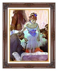 Edgar Degas Before The Entrance On Stage canvas with dark regal wood frame