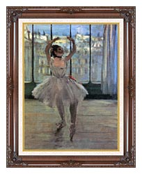 Edgar Degas Dancer Posing For A Photographer   Dancer Before A Window canvas with dark regal wood frame