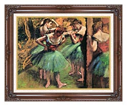 Edgar Degas Dancers Pink And Green canvas with dark regal wood frame