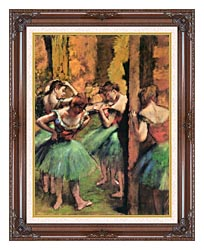Edgar Degas Dancers In Pink And Green canvas with dark regal wood frame