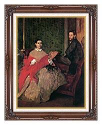 Edgar Degas Edmondo And Therese Morbilli canvas with dark regal wood frame