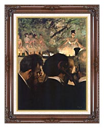 Edgar Degas Musicians In The Orchestra canvas with dark regal wood frame