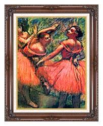 Edgar Degas Red Skirts canvas with dark regal wood frame