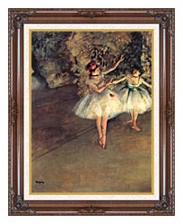 Edgar Degas Two Dancers On The Stage canvas with dark regal wood frame