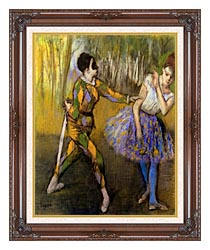 Edgar Degas Harlequin And Colombina canvas with dark regal wood frame