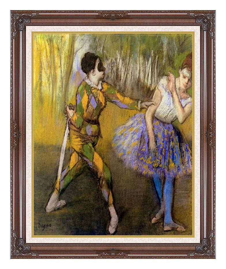 Edgar Degas Harlequin and Colombina with Dark Regal Frame w/Liner