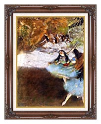 Edgar Degas Ballet On The Stage canvas with dark regal wood frame