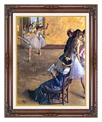 Edgar Degas The Ballet Class canvas with dark regal wood frame
