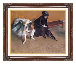 Edgar Degas Waiting canvas with dark regal wood frame