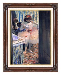 Edgar Degas Dancer In Her Dressing Room canvas with dark regal wood frame