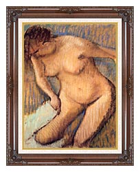 Edgar Degas Woman Drying Her Right Leg Seen From The Front canvas with dark regal wood frame