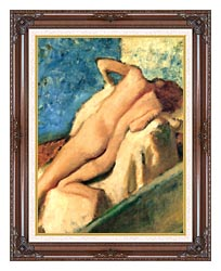 Edgar Degas Nude Woman After The Bath canvas with dark regal wood frame