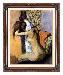 Edgar Degas After The Bath Woman Drying Her Neck canvas with dark regal wood frame