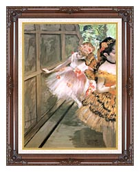 Edgar Degas Impressionist Dancers In The Wings canvas with dark regal wood frame